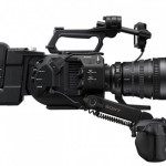 A FS7 is shown here with optional Extension Unit, V-mount battery and 28-135mm Servo lens.